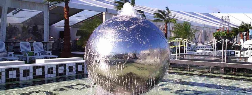 Stainless Steel Spheres Water Features. Water Fountain Balls For Garden